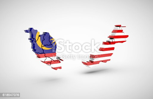 istock Map of Malaysia with flag on a gray background. 618547076