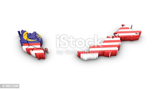 istock Map of Malaysia with flag on a white background. 618622596