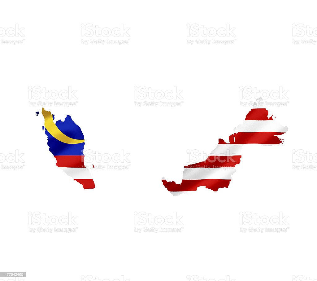 Map of Malaysia with waving flag isolated on white royalty-free stock photo