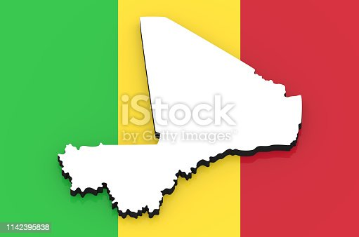 istock 3D map of Mali on the national flag 1142395838
