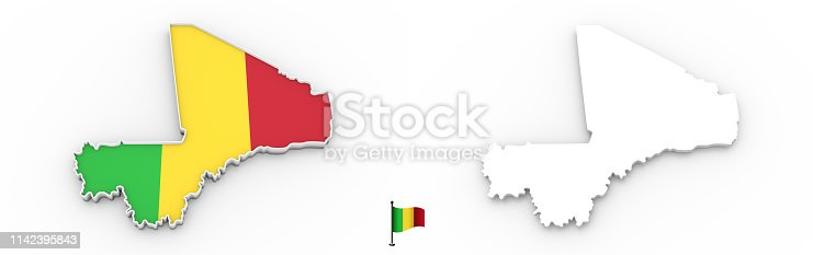 istock 3D map of Mali white silhouette and flag 1142395843