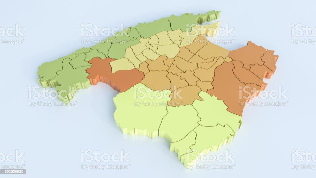Mallorca Karte Alcudia.Karte Von Mallorca Mit Allen Bereichen Hochdetaillierte 3drendering