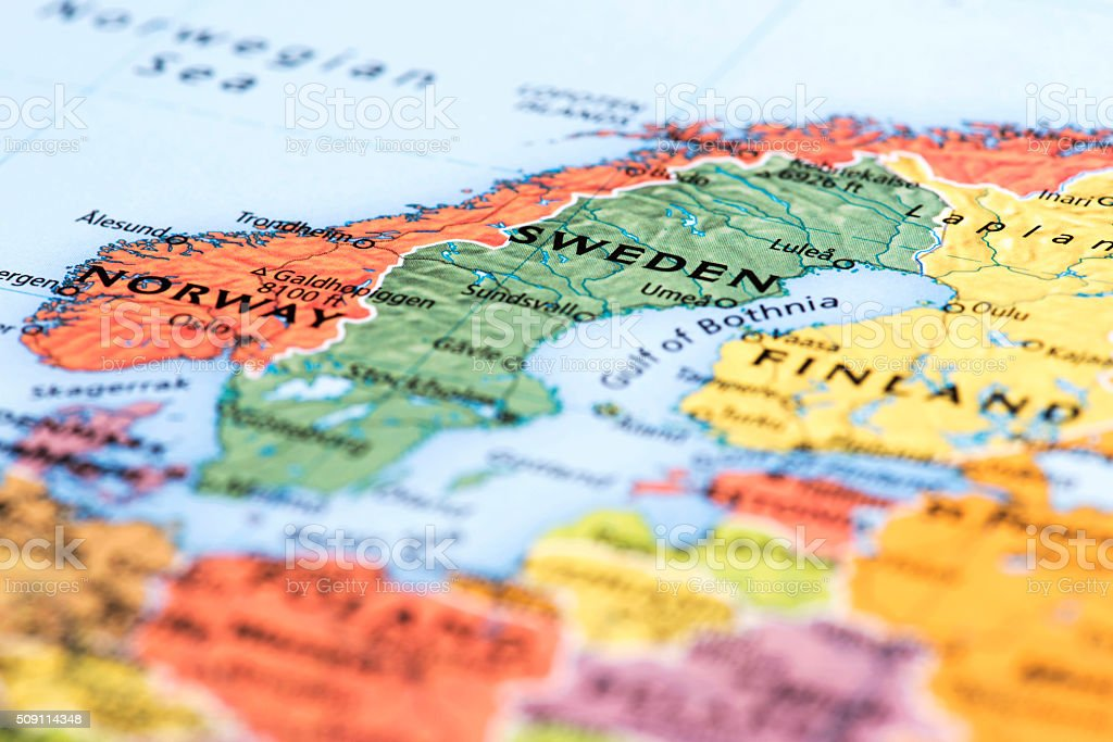 Map of Map of Scandinavian Countries stock photo