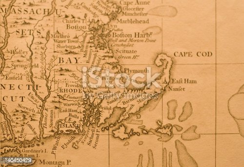 Antique Map of Eastern Massachusetts, depicting Boston, Plymouth, Cape Cod, Rhode Island, and Portions of Connecticut.