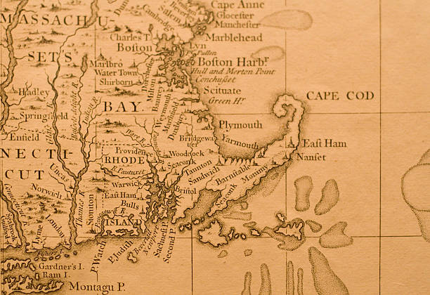 Map of Massachusetts Antique Map of Eastern Massachusetts, depicting Boston, Plymouth, Cape Cod, Rhode Island, and Portions of Connecticut. colonial style stock pictures, royalty-free photos & images