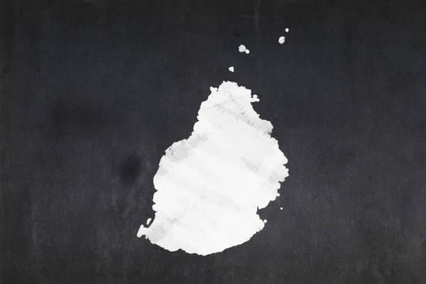 Map of Mauritius drawn on a blackboard stock photo