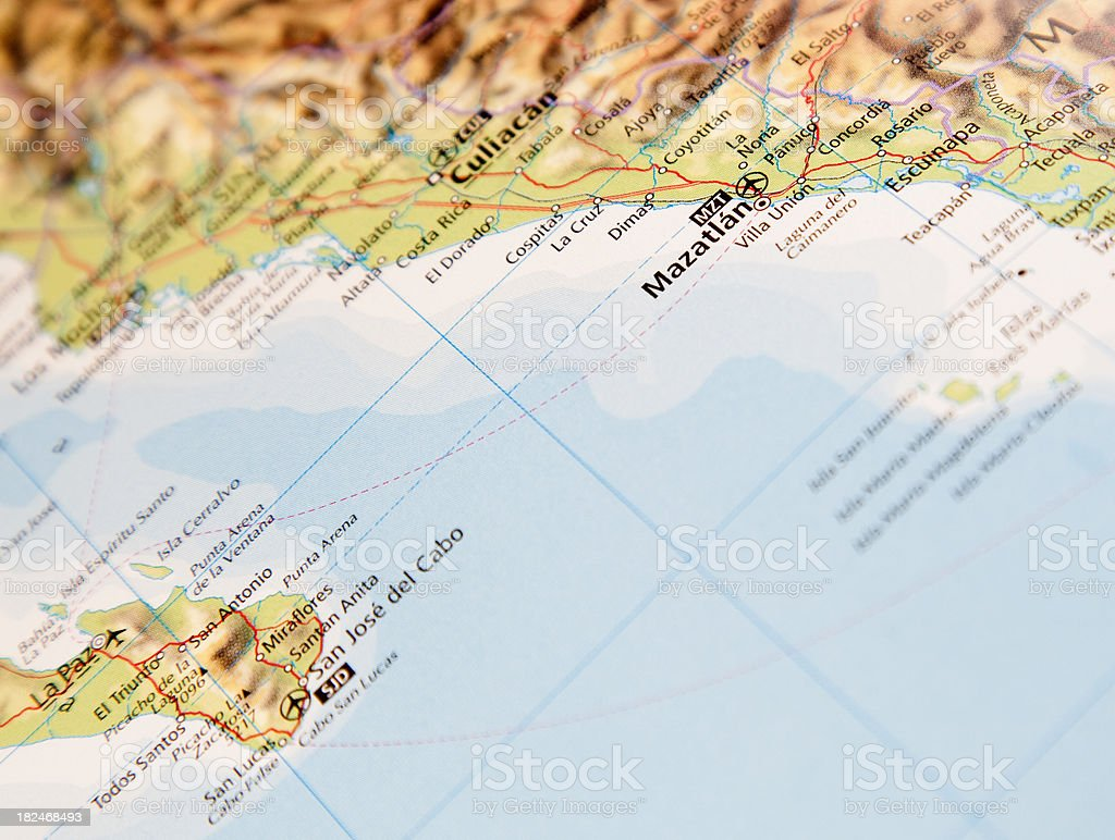 map of mazatlan area stock photo