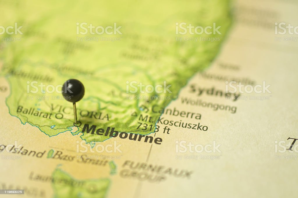 Map Of melbourne,Australia stock photo