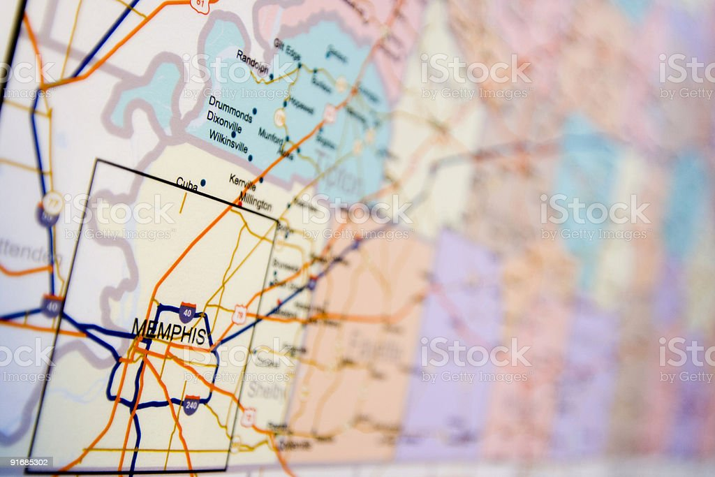 map of memphis royalty-free stock photo