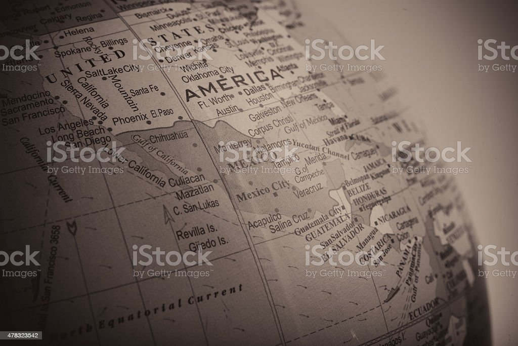 Map of Mexico alongside its Neighbours stock photo