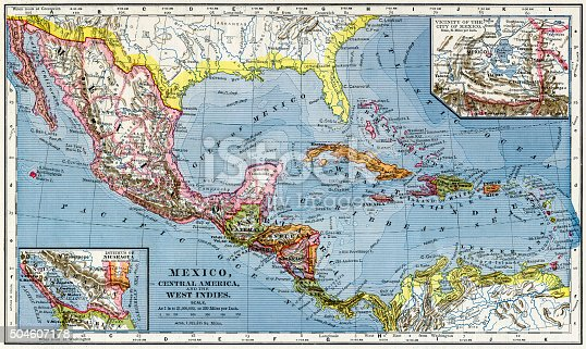 An historic map of Mexico and Central America from 1883.