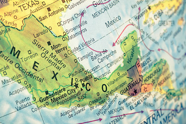 map of mexico close-up image - mexico stock photos and pictures