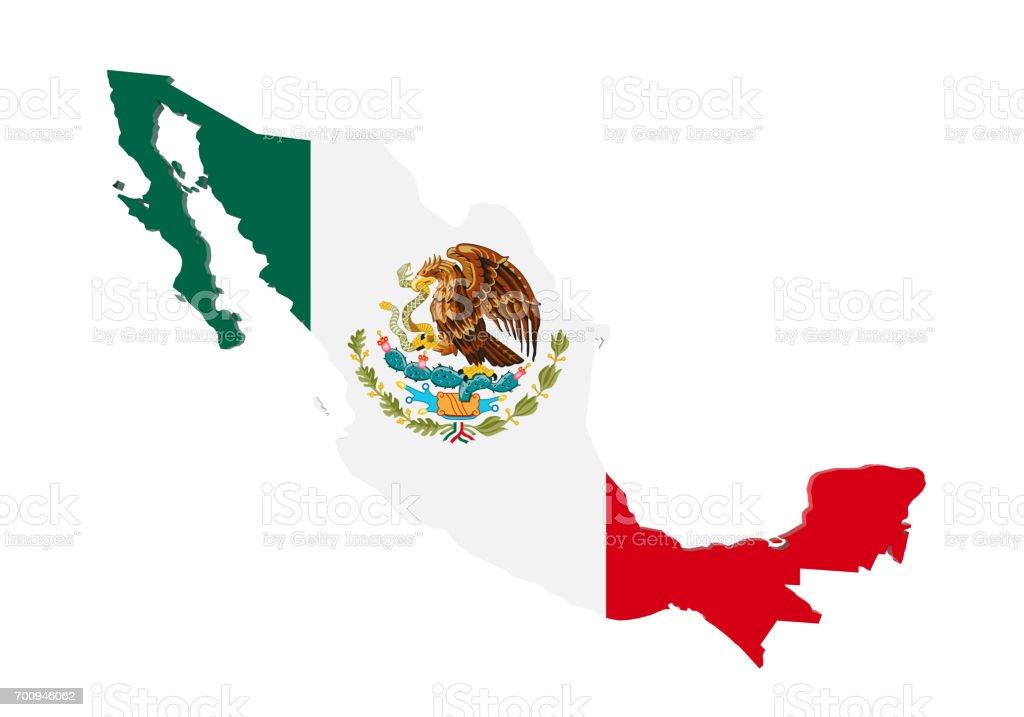 Mapa de México aislado - foto de stock