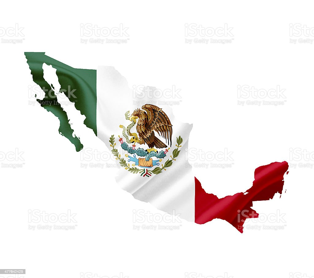 Map of Mexico with waving flag isolated on white royalty-free stock photo