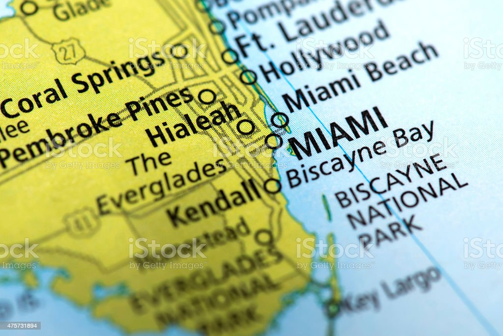 Map of Miami, Florida State in USA stock photo