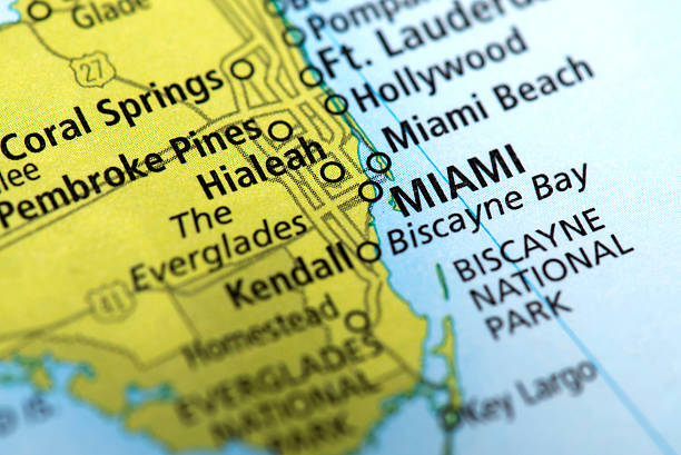 map of miami, florida state in usa - south stock photos and pictures