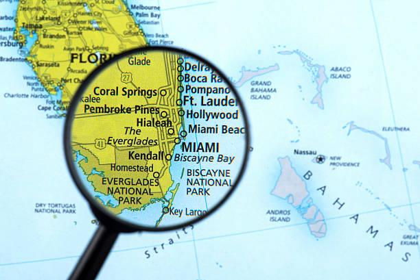 de miami florida mapa de estados unidos - banco de fotos e