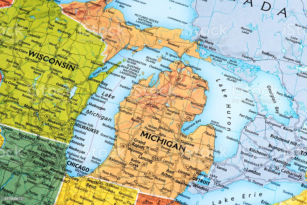 Map of Michigan State in USA stock photo