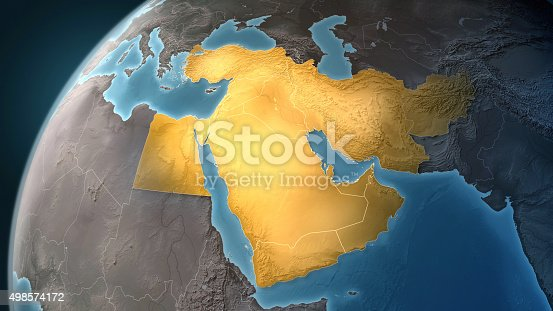 istock Map of Middle East: highlighted countries, looking west 498574172