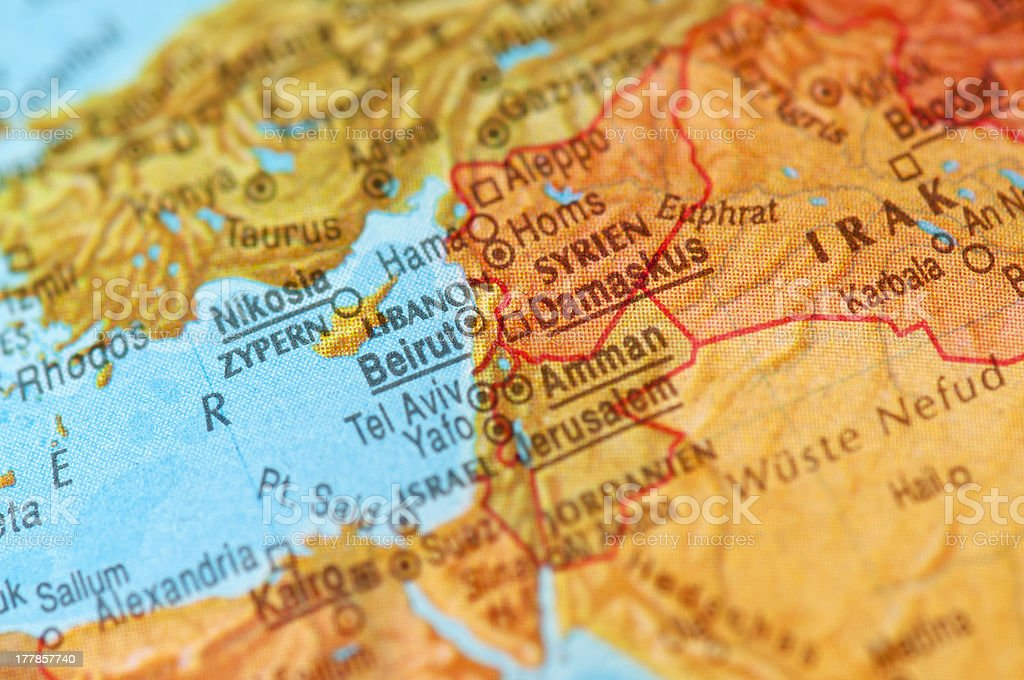 Map of Middle East royalty-free stock photo