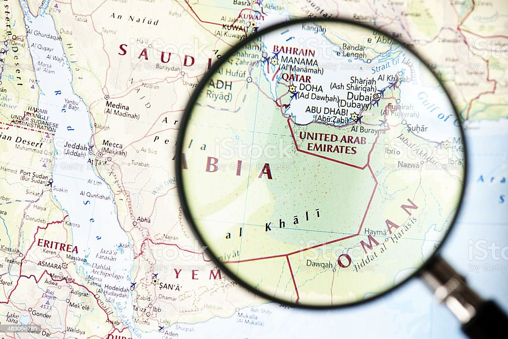 Map of Middle East with United Arab Emirates magnified royalty-free stock photo
