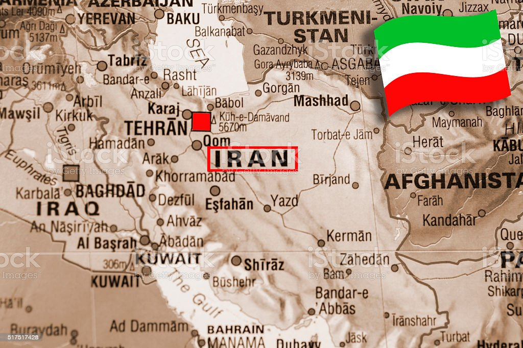 Tehran Middle East Map.Map Of Middle Eastern Countries Focus On Tehran Iran Flag Stock