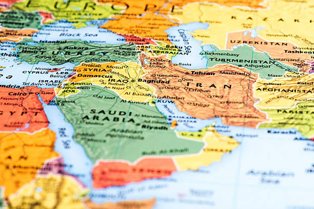 map of middle-eastern and asian countries - saudi arabia map stock photos and pictures