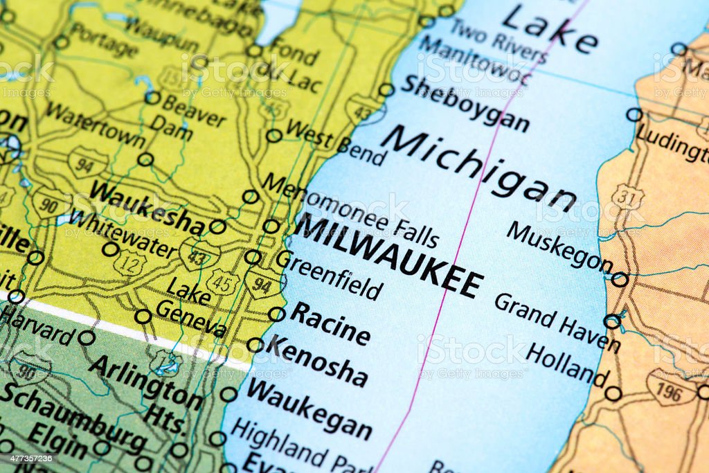 Map of Milwaukee in Wisconsin State, USA stock photo