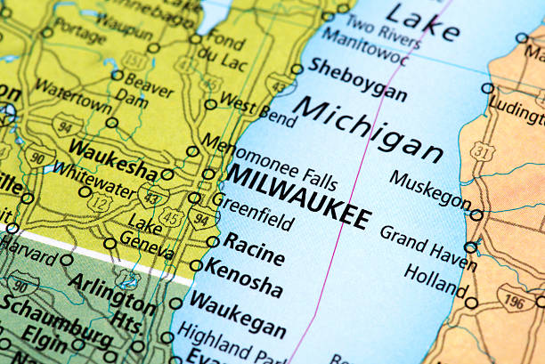 Map of Milwaukee in Wisconsin State, USA Map of Milwaukee in Wisconsin State, USA. Detail from the World Map. milwaukee wisconsin stock pictures, royalty-free photos & images