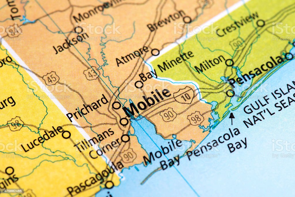 Map of Mobile City in Alabama State, USA stock photo