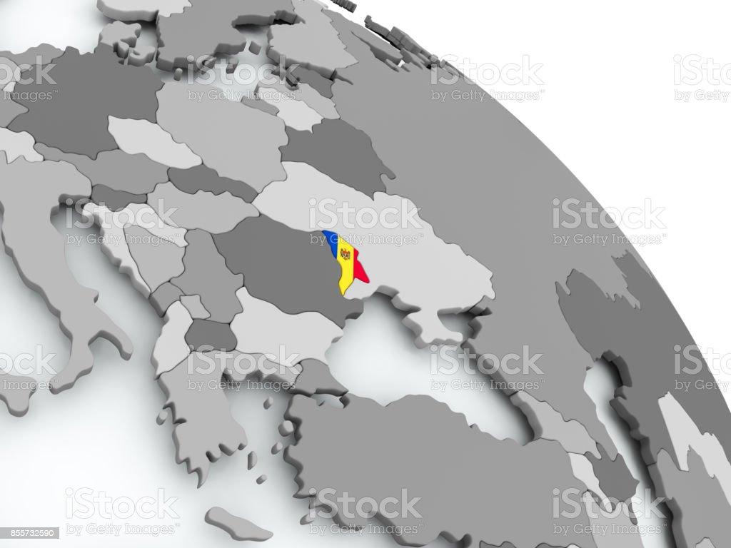 Karte von Moldawien mit Flagge auf der ganzen Welt – Foto