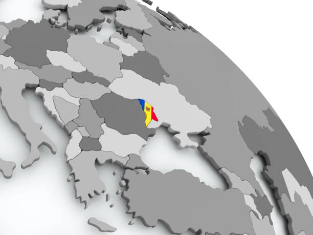 map of moldova with flag on globe - moldova stock pictures, royalty-free photos & images