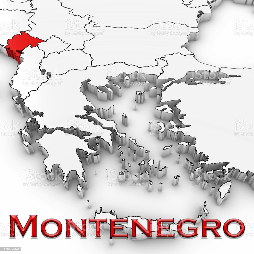 3d Map Of Montenegro With Country Name Highlighted Red On White