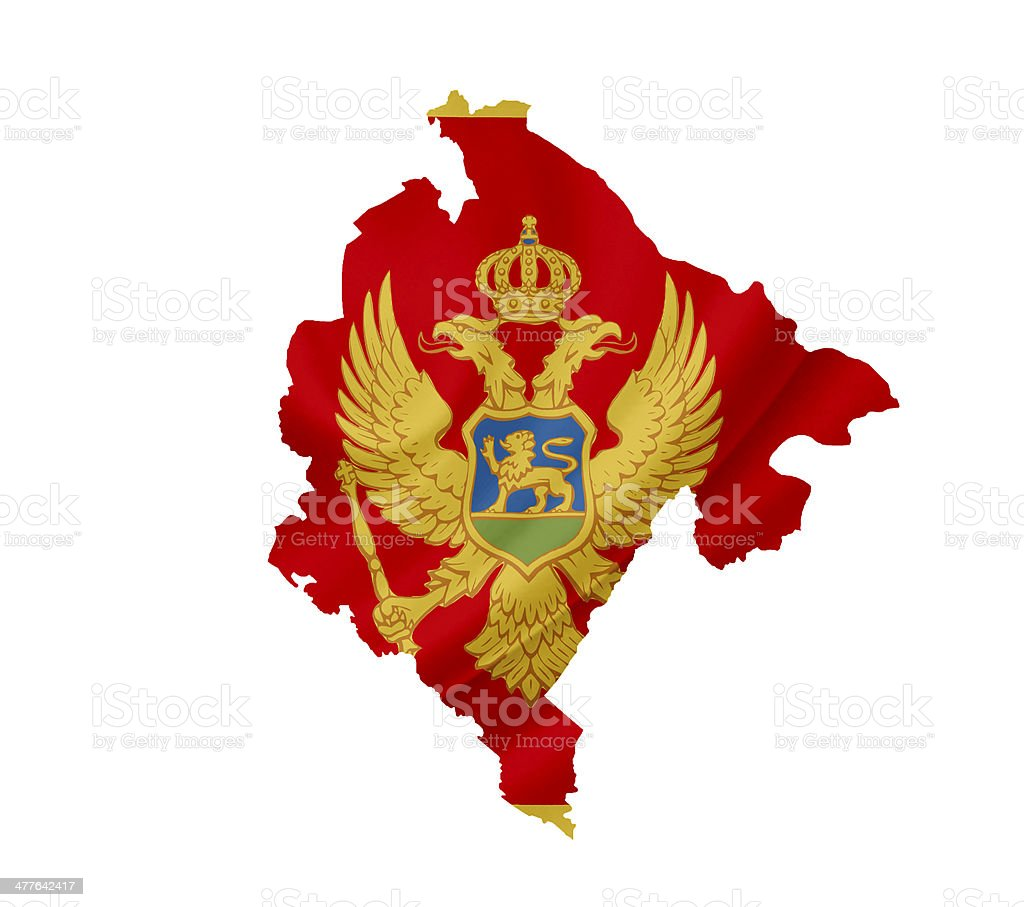 Map of Montenegro with waving flag isolated on white royalty-free stock photo