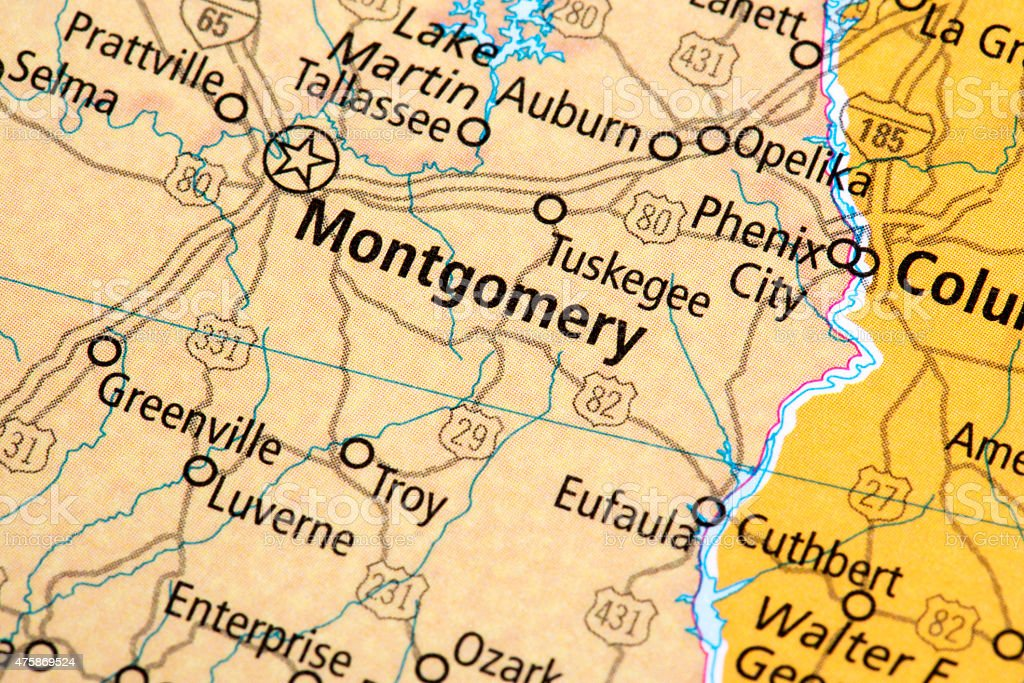 Map Of Montgomery Alabama State In Us Stock Photo & More Pictures of ...