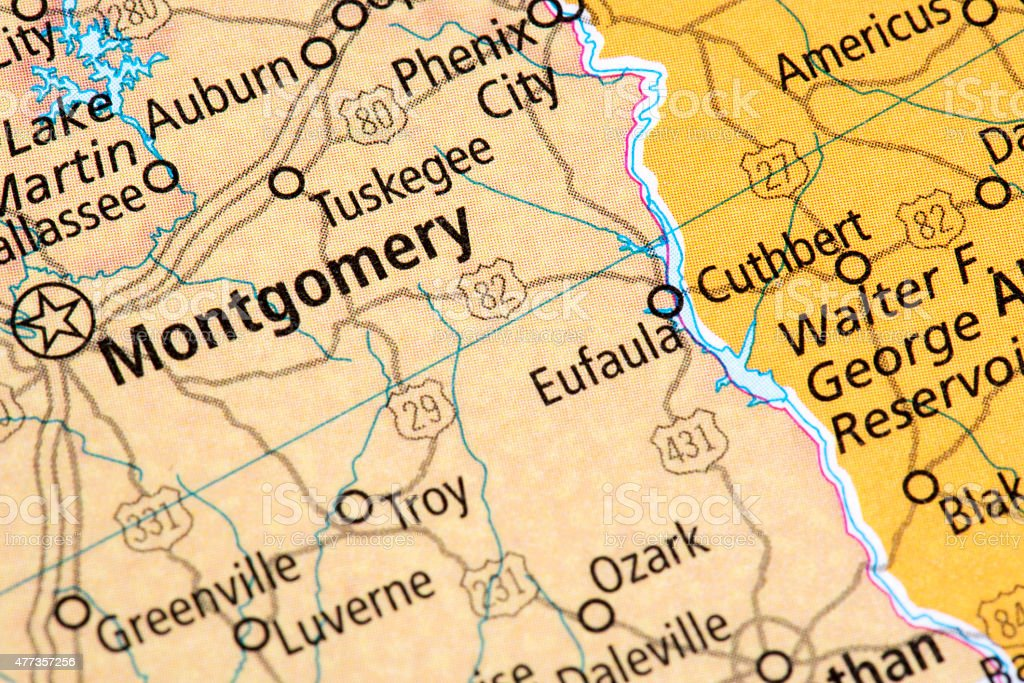 Map Of Montgomery Alabama State In Us Stock Photo & More Pictures of Montgomery Al Map on