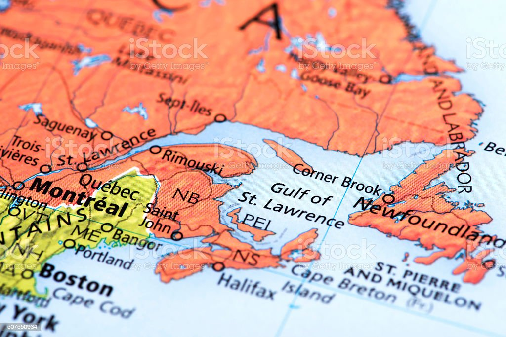 Map Of Montreal And Quebec Canada Stock Photo IStock - Map of quebec canada