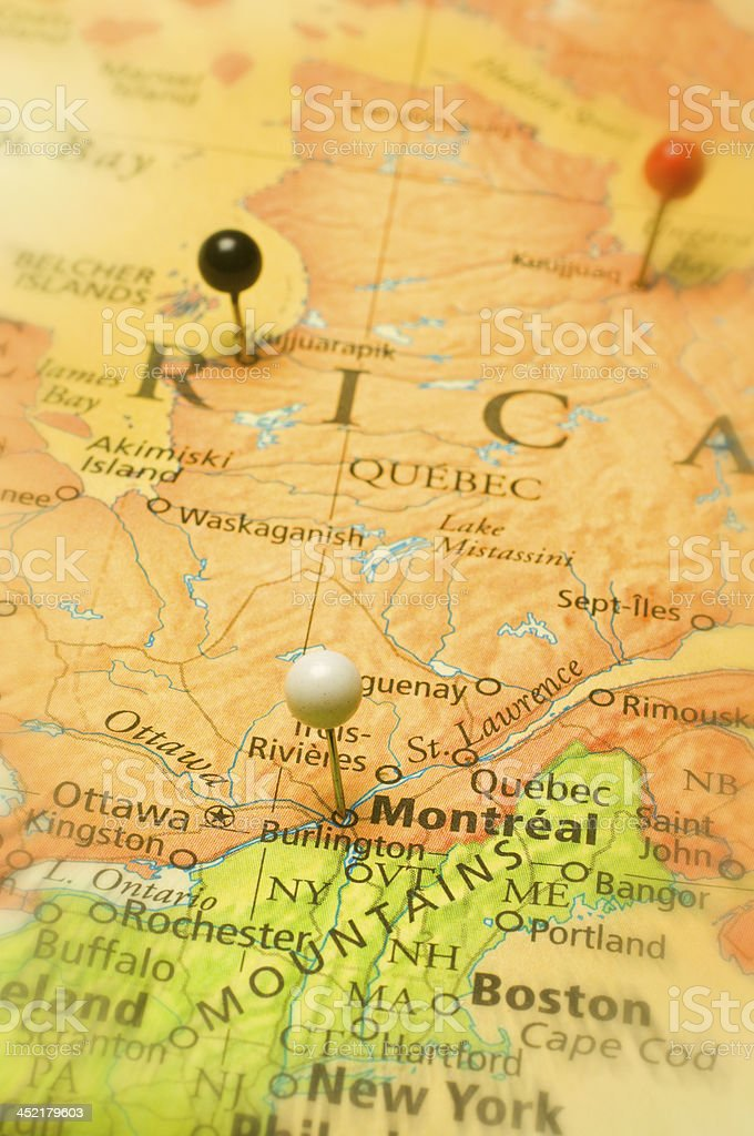 Map Of Montreal Canada And Usa New England States Stock Photo IStock - Montreal canada map