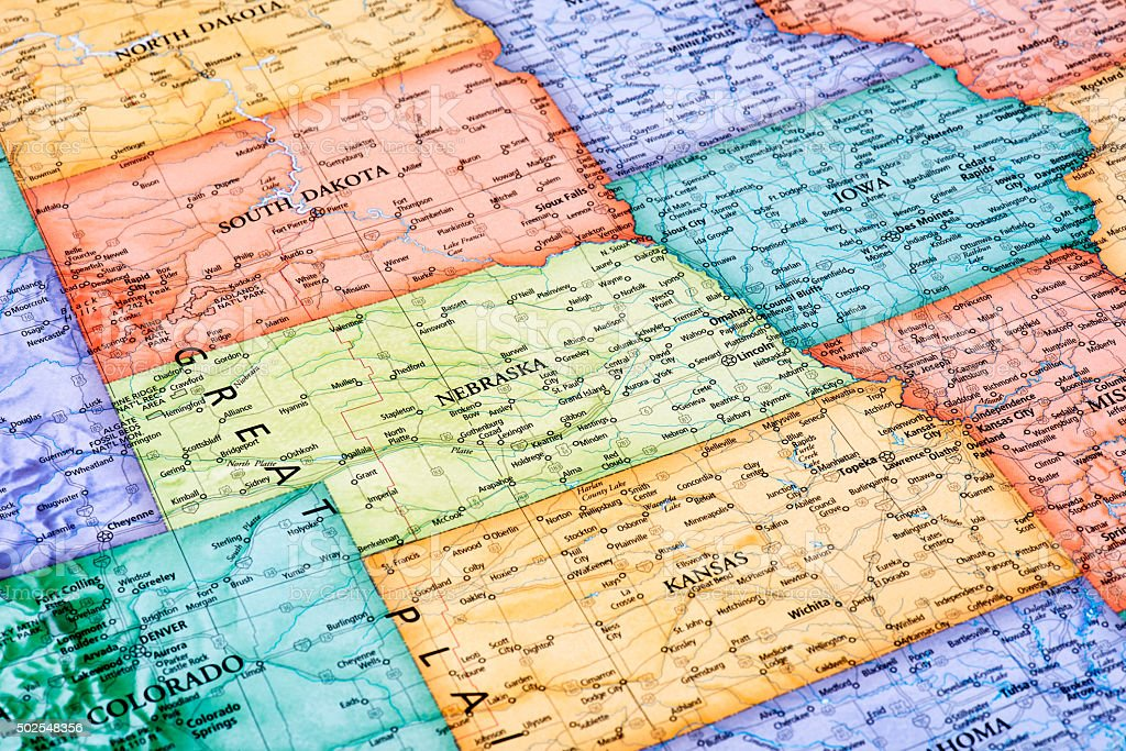 Map of Nebraska, South Dakota and Kansas States stock photo