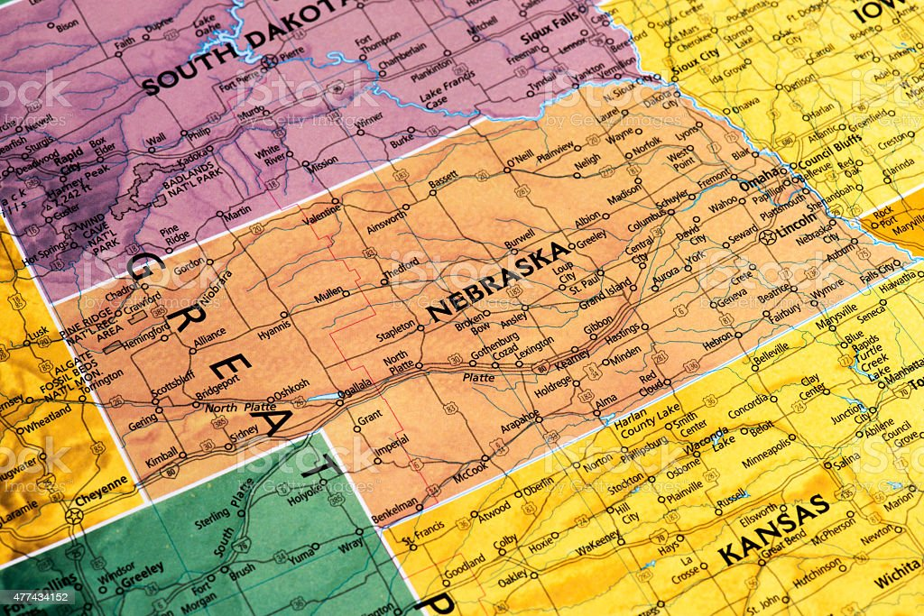Map of Nebraska State in USA stock photo