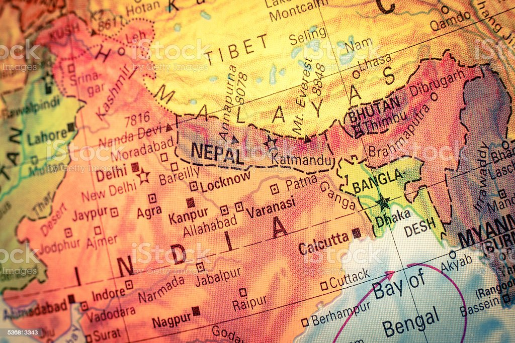 Map of Nepal and Bhutan. Close-up image stock photo