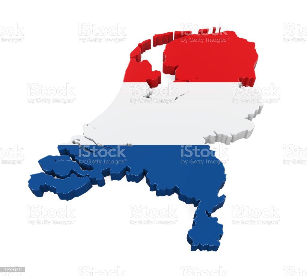 Mapa de Países Bajos aislados - foto de stock