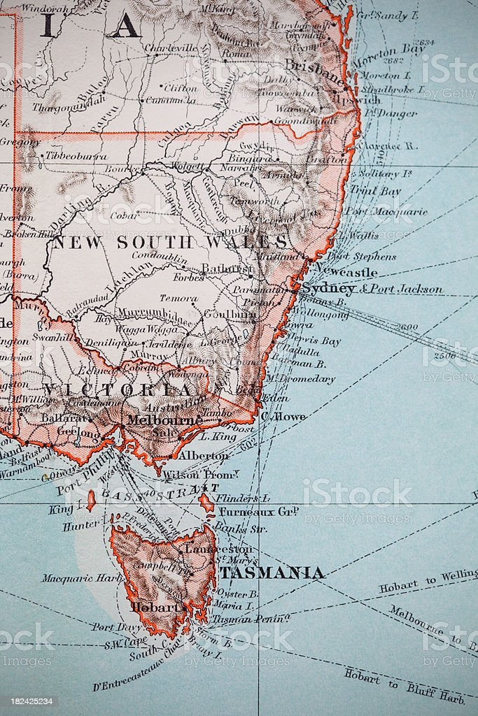Map Of New South Wales stock photo