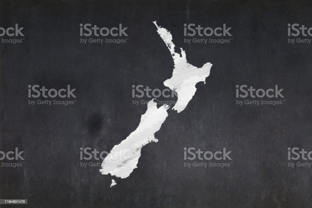 Map of New Zealand drawn in a blackboard Blackboard with a the map of New Zealand drawn in the middle. Backgrounds Stock Photo