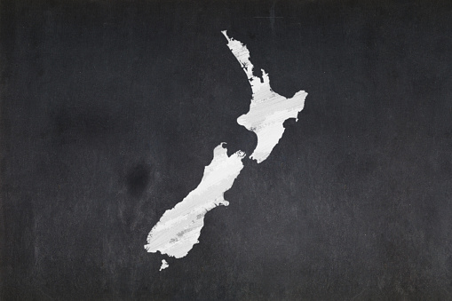 Map Of New Zealand Drawn In A Blackboard Stock Photo - Download Image Now