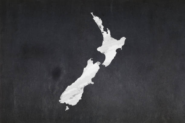 Map of New Zealand drawn in a blackboard stock photo