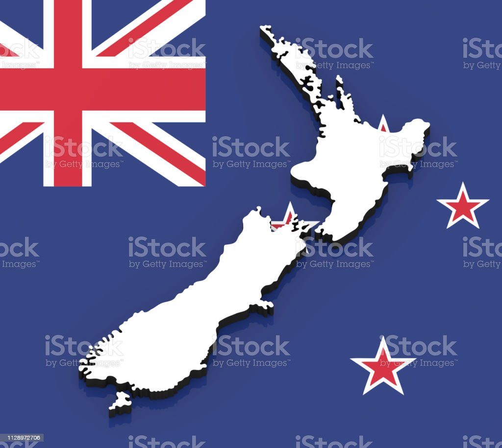 3d Map Of New Zealand.3d Map Of New Zealand On The National Flag Stock Photo Download
