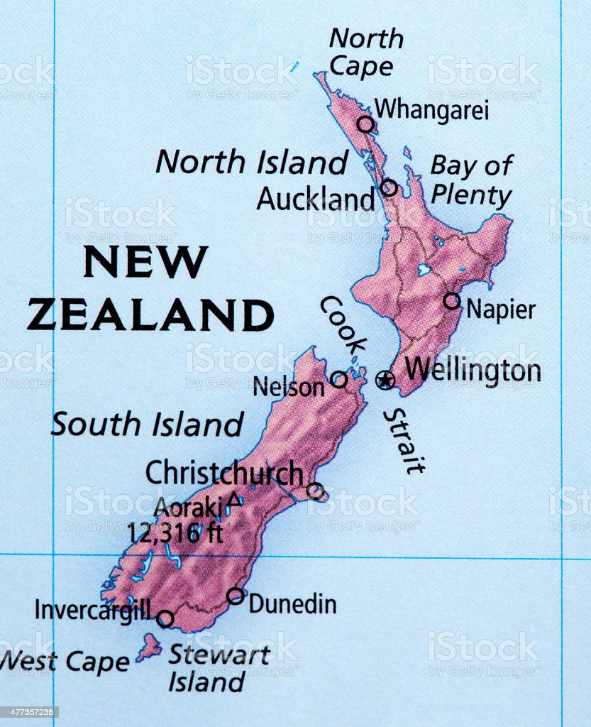 Map of New Zealand stock photo