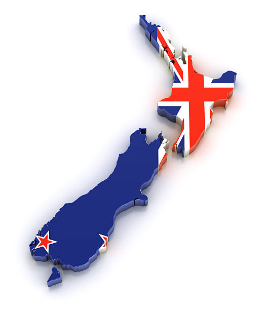 map of new zealand with flag overlaid - new zealand flag stock photos and pictures