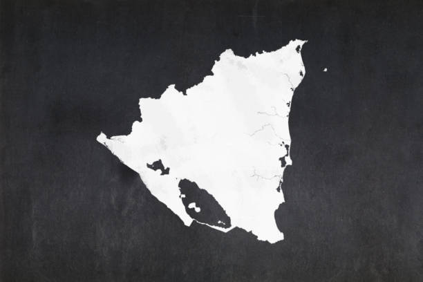 Map of Nicaragua drawn on a blackboard stock photo